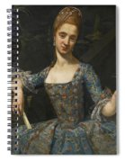 Portrait Of A Lady In An Elaborately Embroidered Blue Dress Spiral Notebook