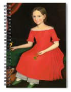 Portrait Of A Winsome Young Girl In Red With Green Slippers Dog And Bird Spiral Notebook