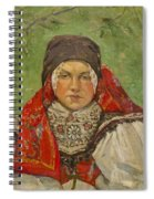 Portrait Of A Woman In A Red Scarf Spiral Notebook