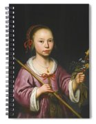 Portrait Of A Young Girl As A Shepherdess Holding A Sprig Of Flowers Spiral Notebook