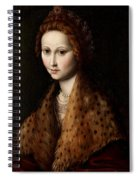 Portrait Of A Young Woman Wearing A Robe With A Fur Collar Spiral Notebook