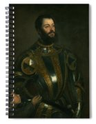 Portrait Of Alfonso D'avalon -  Marquis Of Vasto - In Armor With A Page Spiral Notebook