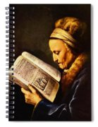 Portrait Of An Old Woman Reading Spiral Notebook