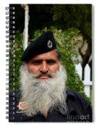 Portrait Of Pakistani Security Guard With Flowing White Beard Karachi Pakistan Spiral Notebook