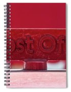 Post Office Arrowed Direction Red Sign On Top Of Post Box Spiral Notebook