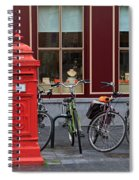 Postbox And Bicycles In Front Of The Diamond Museum In Bruges Spiral Notebook