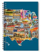 Postcards Of The United States Vintage Usa All 50 States Map Spiral Notebook