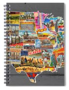 Postcards Of The United States Vintage Usa Lower 48 Map On Gray Wood Background Spiral Notebook