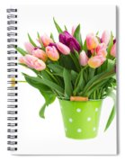 Pot Of Pink And Violet Tulips Spiral Notebook