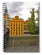 Prague Accordian Player On Charles Bridge Spiral Notebook