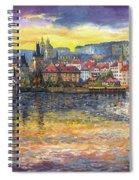 Prague Charles Bridge And Prague Castle With The Vltava River 1 Spiral Notebook