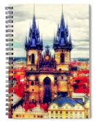 Prague Church Of Our Lady Before Tyn Watercolor Spiral Notebook
