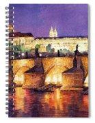 Prague Night Panorama Charles Bridge  Spiral Notebook