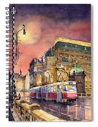 Prague  Night Tram National Theatre Spiral Notebook