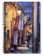 Prague Old Street Golden Line Spiral Notebook