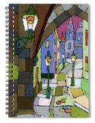 Prague Old Street Mostecka Spiral Notebook