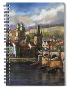 Prague Panorama Charles Bridge Prague Castle Spiral Notebook