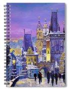 Prague Winter Charles Bridge 3 Spiral Notebook