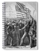 President Lincoln Holding The American Flag Spiral Notebook