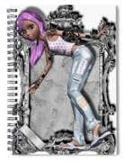 Pretty 3d Girl Sneaks Out Of Frame Spiral Notebook