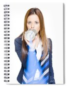 Pretty Business Woman Talking On Tin Can Phone Spiral Notebook
