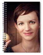 Pretty Young Brunette Woman Holding Hatching Egg Spiral Notebook