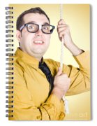 Promoted Employee Climbing Up Corporate Rope Spiral Notebook
