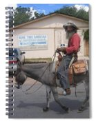 Prospector Re-enactor With Burro Passing Rose Bush Museum Sign Tombstone  Arizona 2004 Spiral Notebook