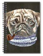 Pug Monacle Scarf Pipe Dogs In Clothes Spiral Notebook