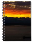 Puget Sound Olympic Mountains Sunset Spiral Notebook