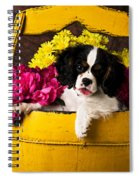 Puppy In Yellow Bucket  Spiral Notebook