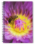 Purple And Yellow Lotus With A Bee Textured Spiral Notebook