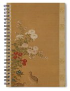 Quail Under Autumn Flowers Spiral Notebook