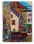 Quebec City Street Scene  Caleche Ride Spiral Notebook