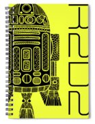 R2d2 - Star Wars Art - Yellow Spiral Notebook