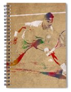 Rafael Nadal Tennis Star Watercolor Portrait On Worn Canvas Spiral Notebook