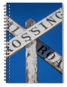 Railroad Crossing Wooden Sign Spiral Notebook