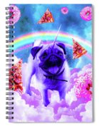 Rainbow Unicorn Pug In The Clouds In Space Spiral Notebook