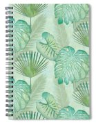 Rainforest Tropical - Elephant Ear And Fan Palm Leaves Repeat Pattern Spiral Notebook