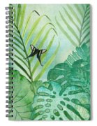 Rainforest Tropical - Philodendron Elephant Ear And Palm Leaves W Botanical Butterfly Spiral Notebook