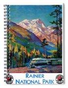 Rainier National Park Vintage Poster Restored Spiral Notebook