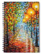 Rainy Autumn Evening In The Park Acrylic Palette Knife Painting Spiral Notebook