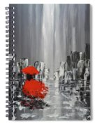 Rainy Day City Girl In Red Spiral Notebook