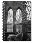 Rainy Day On The Brooklyn Bridge Brooklyn New York Tulip Petals Black And White Spiral Notebook