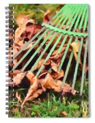 Raking The Fallen Autumn Leaves Spiral Notebook