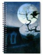 Raven Landing On Branch In Moonlight Spiral Notebook