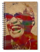 Ray Charles Watercolor Portrait On Worn Distressed Canvas Spiral Notebook