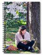 Reading Beneath The Cherry Blossoms Spiral Notebook