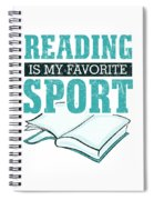 Reading Is My Favorite Sport Light Blue Spiral Notebook