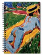 Reclining Blue Nude With Straw Hat Spiral Notebook